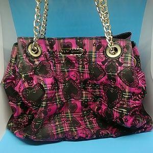 Betsey Johnson pink plaid heart handbag rose inter
